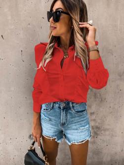 Γυναικείο πουκάμισο με βολάν 8554 κόκκινο
