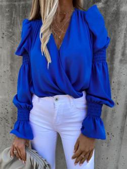 Γυναικεία μπλούζα με εντυπωσιακό μανίκι 8553 μπλε