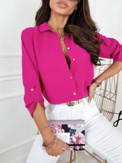 Γυναικείο μονόχρωμο πουκάμισο 9363 φούξια