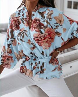 Γυναικεία μπλούζα με κορδόνι στη μέση 5033 γαλάζια