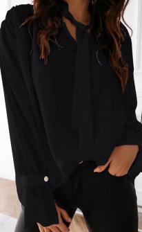 Γυναικείο πουκάμισο με φιόγκο 3902 μαύρο