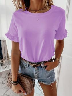 Γυναίκεια μπλούζα με βολάν στο μανίκι 5097 λιλά
