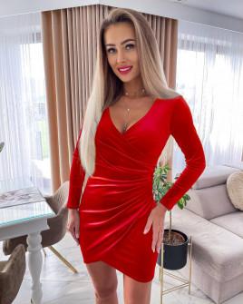 Γυναικείο βελουτέ φόρεμα 6036 κόκκινο