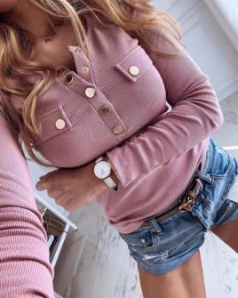 Γυναικεία μπλούζα με χρυσά κουμπιά 3437 ροζ