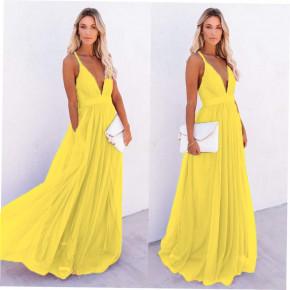 Γυναικείο μακρύ φόρεμα 2415 κίτρινο