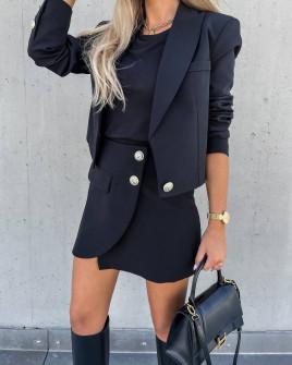 Γυναικείο σετ σακάκι-φούστα 6071 μαύρο