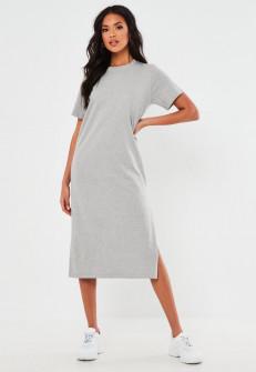 Γυναικείο φόρεμα μίντι 13387 γκρι
