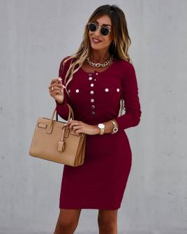 Γυναικείο εφαρμοστό φόρεμα με κουμπιά 6080 μπορντό