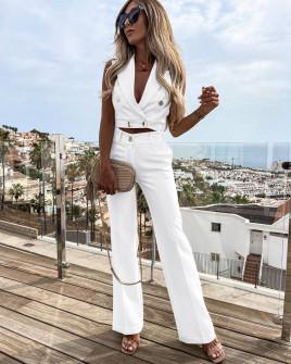 Γυναικείο σετ τοπάκι και παντελόνι 5866 άσπρο