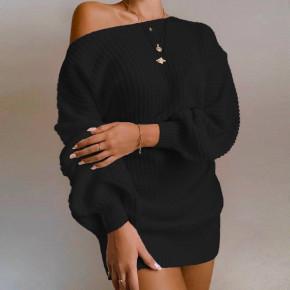 Γυναικείο μονόχρωμο μπλουζοφόρεμα 21136 μαύρο