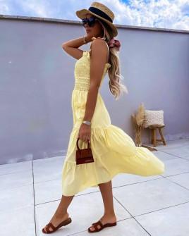Γυναικείο φόρεμα με τσέπες 5760 ανοιχτό κίτρινο