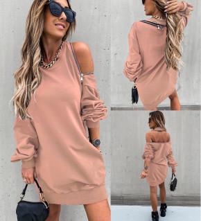 Γυναικείο μπλουζοφόρεμα με φερμουάρ 3911 ροζ