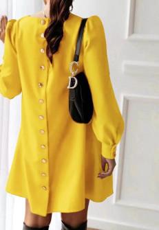 Γυναικείο φόρεμα με κουμπιά στην πλάτη 3977 κίτρινο