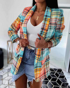 Γυναικείο σακάκι καρό 5061 πορτοκαλί/πράσινο