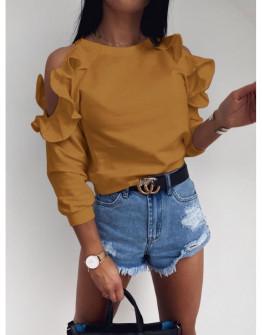 Γυναικεία μπλούζα έξωμη 5265 μουσταρδί
