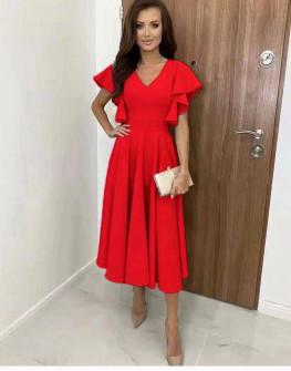 Γυναικείο φόρεμα μίντι 8059 κόκκινο