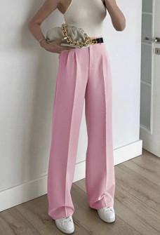 Γυναικείο φαρδύ παντελόνι με ζώνη 5508 ροζ