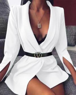 Γυναικείο σακάκι με σκίσιμο στο μανίκι 3994 άσπρο