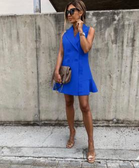 Γυναικείο φόρεμα με κουμπιά από τις δύο πλευρές 5066 μπλε