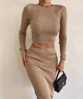 Гυναικείο σετ φούστα-μπλούζα 3866 μπεζ