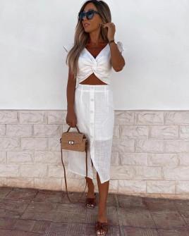 Γυναικείο σετ φούστα και τοπάκι 21227 άσπρο