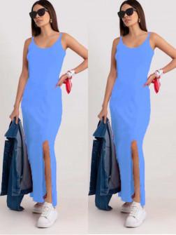 Γυναικείο μακρύ φόρεμα με σκίσιμο 2392 γαλάζιο