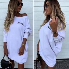 Γυναικείο μπλουζοφόρεμα Basic 7982 άσπρο