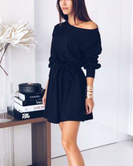 Γυναικείο χαλαρό φόρεμα με ζώνη 3140 μαύρο