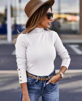 Μπλούζα ζιβάγκο με κουμπιά 2643 άσπρη