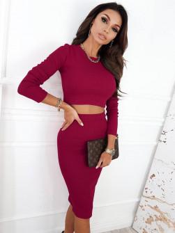 Γυναικείο σετ φούστα-μπλούζα 5973 μπορντό