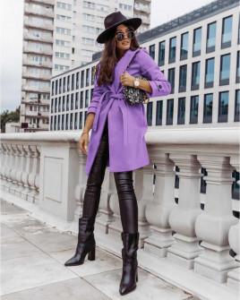 Γυναικείο παλτό με φόδρα και ζώνη 5334 μωβ