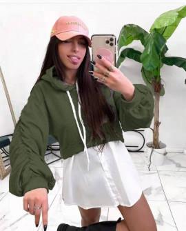 Γυναικείο φούτερ με όψη πουκαμίσου 2836 χακί
