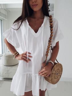 Γυναικείο χαλαρό μπλουζοφόρεμα 5110 άσπρο