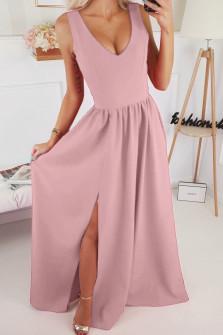 Γυναικείο μακρύ φόρεμα με σκίσιμο 1977 ροζ