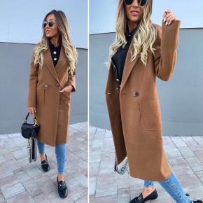 Γυναικείο μακρύ παλτό με φόδρα 19690 καφέ