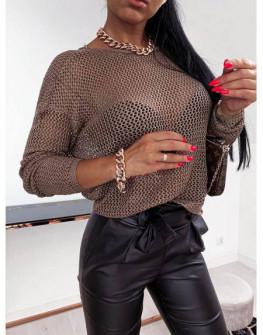 Γυναικείο καλοκαιρινό πουλόβερ 00573 καφέ