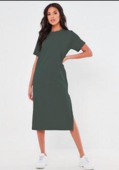 Γυναικείο φόρεμα μίντι 13387 σκούρο πράσινο