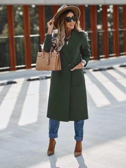 Παλτό με τσέπες και φόδρα 3781 σκούρο πράσινο