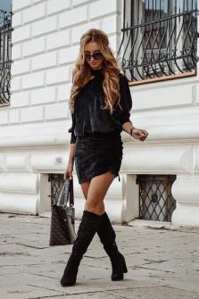 Γυναικείο σετ φούστα και μπλούζα 3495 μαύρο
