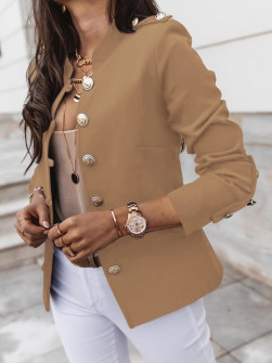 Γυναικείο σακάκι με χρυσά κουμπιά 5326 καμηλό