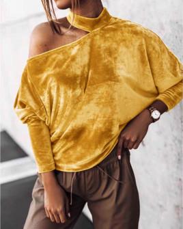 Γυναικεία μπλούζα βελουτέ 5387 μουσταρδί