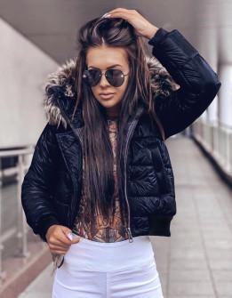Γυναικείο μπουφάν με γουνάκι στην κουκούλα 81996 σκούρο μπλε