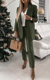 Γυναικείο σετ παντελόνι και σακάκι με φόδρα 5478 σκούρο πράσινο