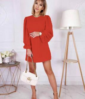 Γυναικείο φόρεμα με φουσκωτό μανίκι 8063 κόκκινο
