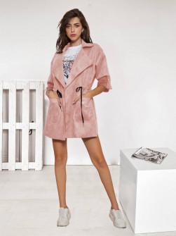 Γυναικεία μονόχρωμη καμπαρντίνα 7208 ροζ