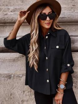 Γυναικείο χαλαρό πουκάμισο 5510 μαύρο