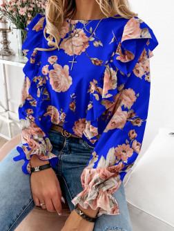 Дамска блуза на цветя 8570 синя