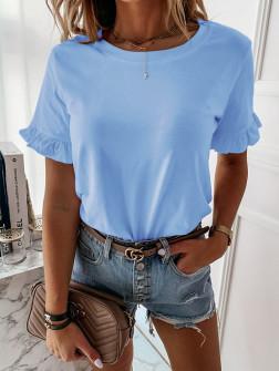Γυναίκεια μπλούζα με βολάν στο μανίκι 5097 γαλάζια