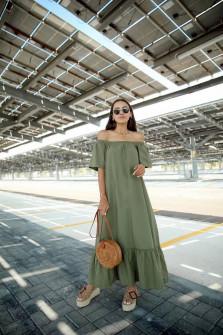 Γυναικείο μακρύ χαλαρό φόρεμα 5185 χακί