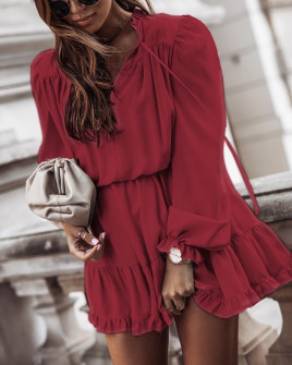 Γυναικείο εντυπωσιακό φόρεμα 7105 μπορντό